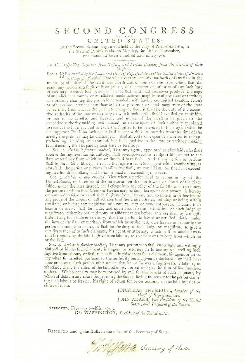 Fugitive Slave Law of 1793<br>signed by Thomas Jefferson<br>$102,000